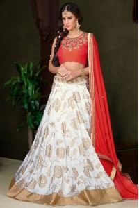 White silk wedding lehenga choli