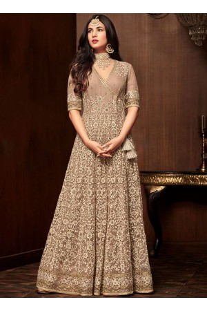 Bollywood Sonal Chauhan Beige net wedding anarkali