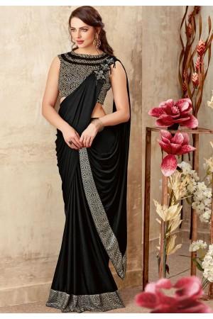 Black color designer party wear saree