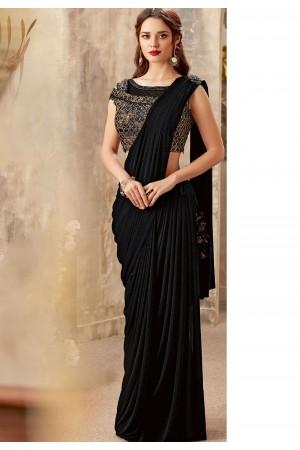 Black designer party wear saree