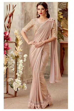 Blush lycra designer party wear Saree