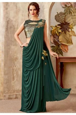 Bottle green designer party wear saree