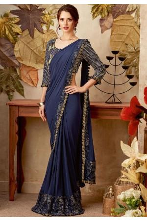 Navy blue color designer party wear saree