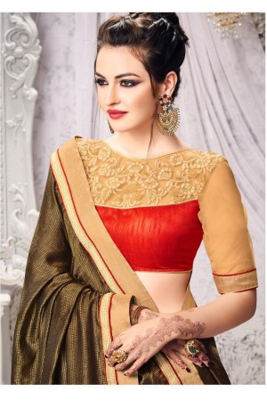 Party-wear-Golden-Brown-color-saree