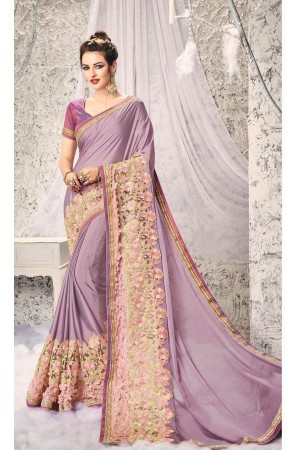 Party-wear-Lavender-color-saree