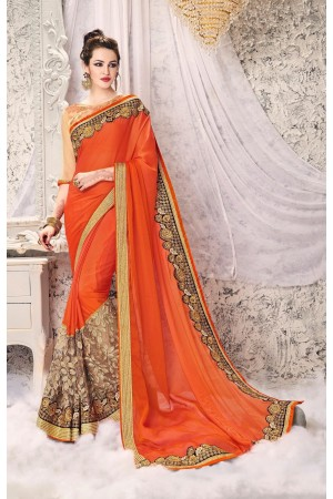 Party-wear-Orange-4-color-saree