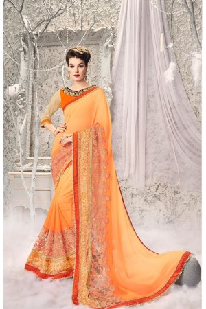 Party-wear-Orange-Red-6-color-saree