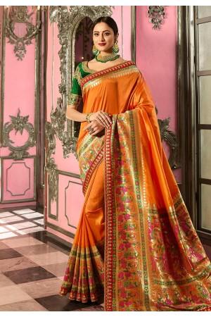 Mustard yellow and green Indian wedding Silk Saree