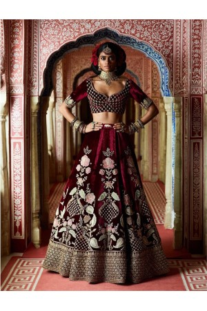 Bollywood Sabyasachi Inspired maroon velvet bridal lehenga