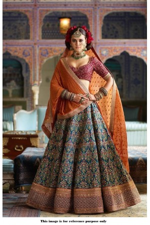 Bollywood Sabyasachi Inspired blue orange and red silk lehenga