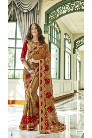 Beige Red georgette embroidered party wear saree 88031