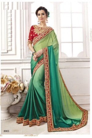 Green georgette party wear saree 8903