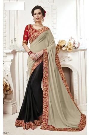 Grey georgette party wear saree 8907