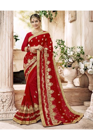 Maroon Georgette Embroidered  Wedding Wear  saree 6802