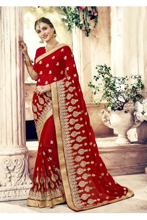 Maroon Georgette Embroidered  Wedding Wear  saree 6803