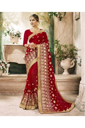 Maroon Georgette Embroidered  Wedding Wear  saree 6804