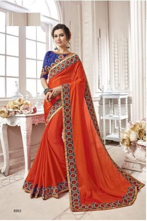 Orange georgette party wear saree 8902