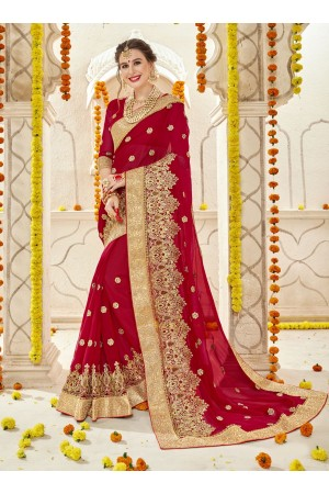 Red Faux  Georgette  Embroidered  Traditional  Saree 5901