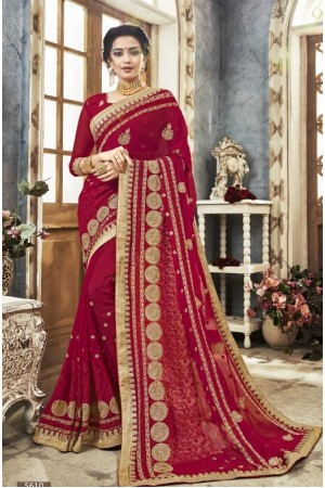 Red georgette embroidered party wear saree 5610