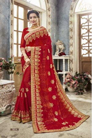 Red georgette embroidered party wear saree 5614