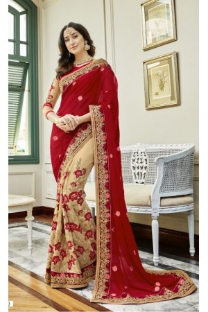 Red georgette embroidered party wear saree 88029