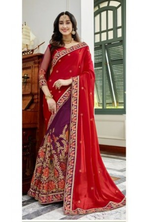 Red georgette embroidered party wear saree 88032