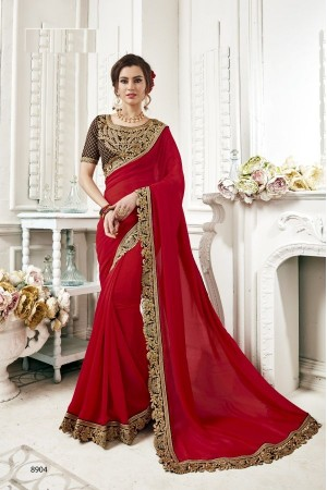 Red georgette party wear saree 8904