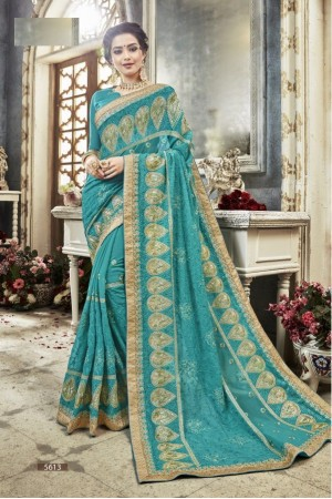 Sea Green georgette embroidered party wear saree 5613