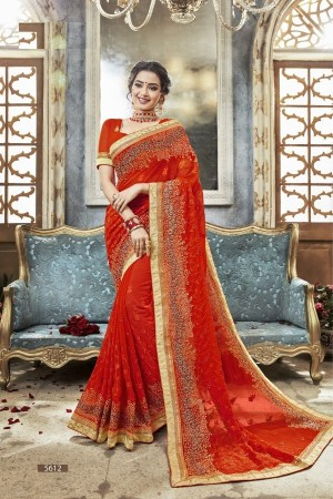 Tomato Red georgette embroidered party wear saree 5612
