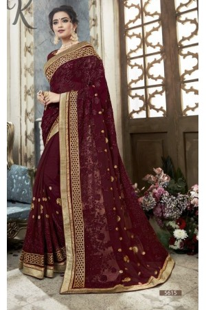 Wine georgette embroidered party wear saree 5615