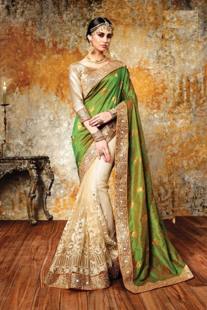 Chandan silk green and beige color designer wedding wear saree