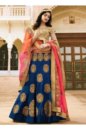 blue art dupion silk wedding lehenga 13051