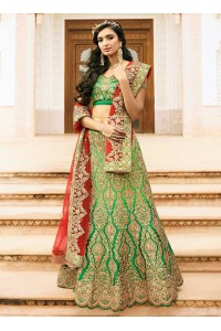 green art dupion silk wedding lehenga 13052