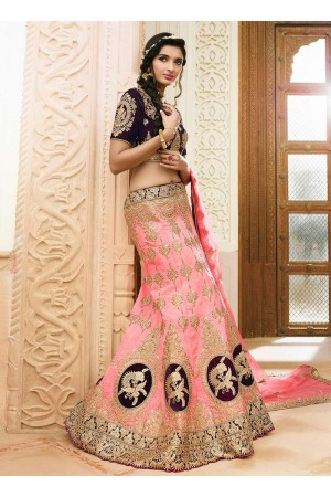 light pink art dupion silk wedding lehenga 13054