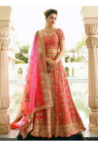 peach art dupion silk wedding lehenga 13056