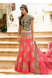 pink art dupion silk wedding lehenga 13055
