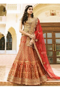 red art dupion silk wedding lehenga 13050