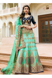 sea green art dupion silk wedding lehenga 13049
