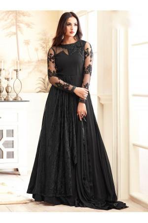 sonal chauhan georgette black party wear anarkali 4606