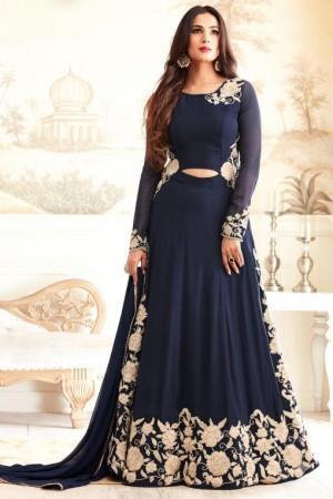 sonal chauhan georgette navy blue party wear anarkali 4603