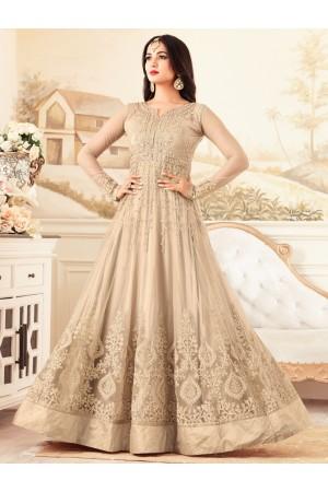sonal chauhan net beige party wear anarkali 4607