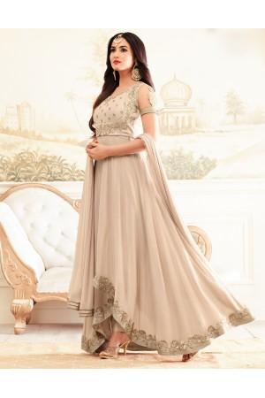 sonal chauhan rangoli beige party wear anarkali 4602