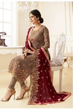 Beige georgette Indian wedding straight cut churidar 10003