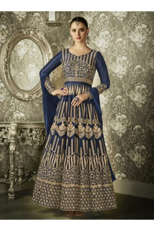 Blue color silk Indian wedding wear anarkali 1004