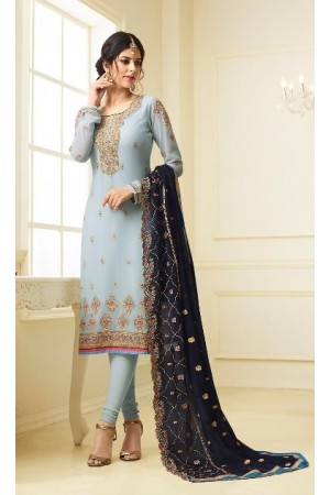 Blue georgette Indian wedding straight cut churidar 10002