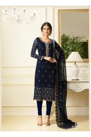 Blue georgette Indian wedding straight cut churidar 10004