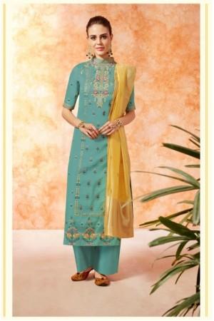 Blue yellow dola silk Indian Palazzo salwar kameez K20