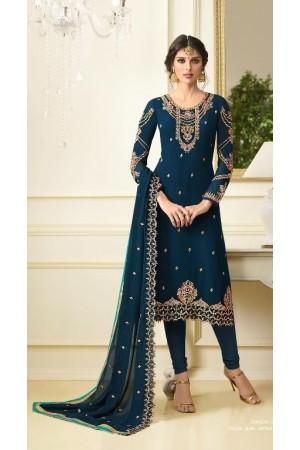 Cyan blue georgette Indian wedding straight cut churidar 10008