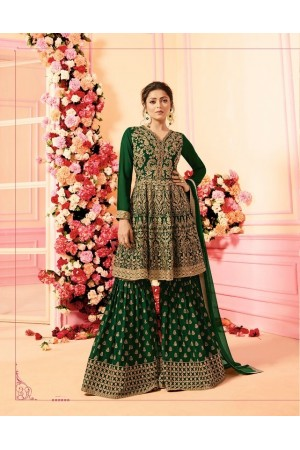 Drashti Dhami Green georgette wedding Sharara 2206