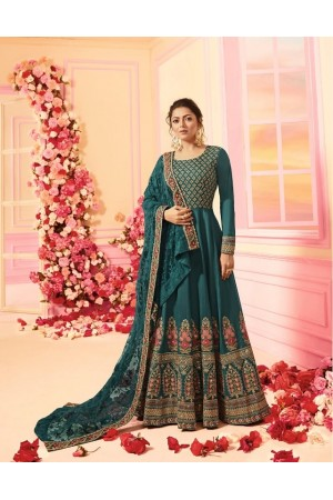 Drashti Dhami Green silk wedding anarkali 2208